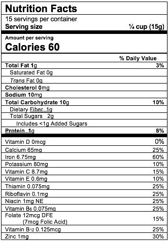 Nutrition Facts Oatmeal Peach Apple