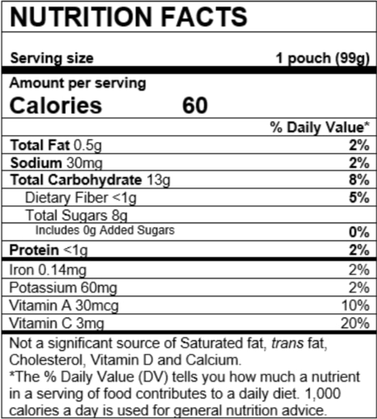Nutrition Facts Mango Peach Carrot Sweet Potato Oatmeal