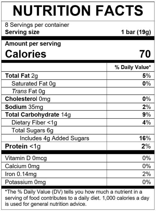 Nutrition Facts Grain & Grow™ Soft Baked Grain Bars