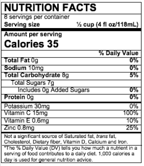 Nutrition Facts Strawberry Kiwi Flavor