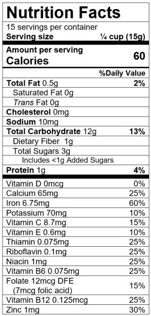 Nutrition Facts Whole Wheat Apple Blueberry