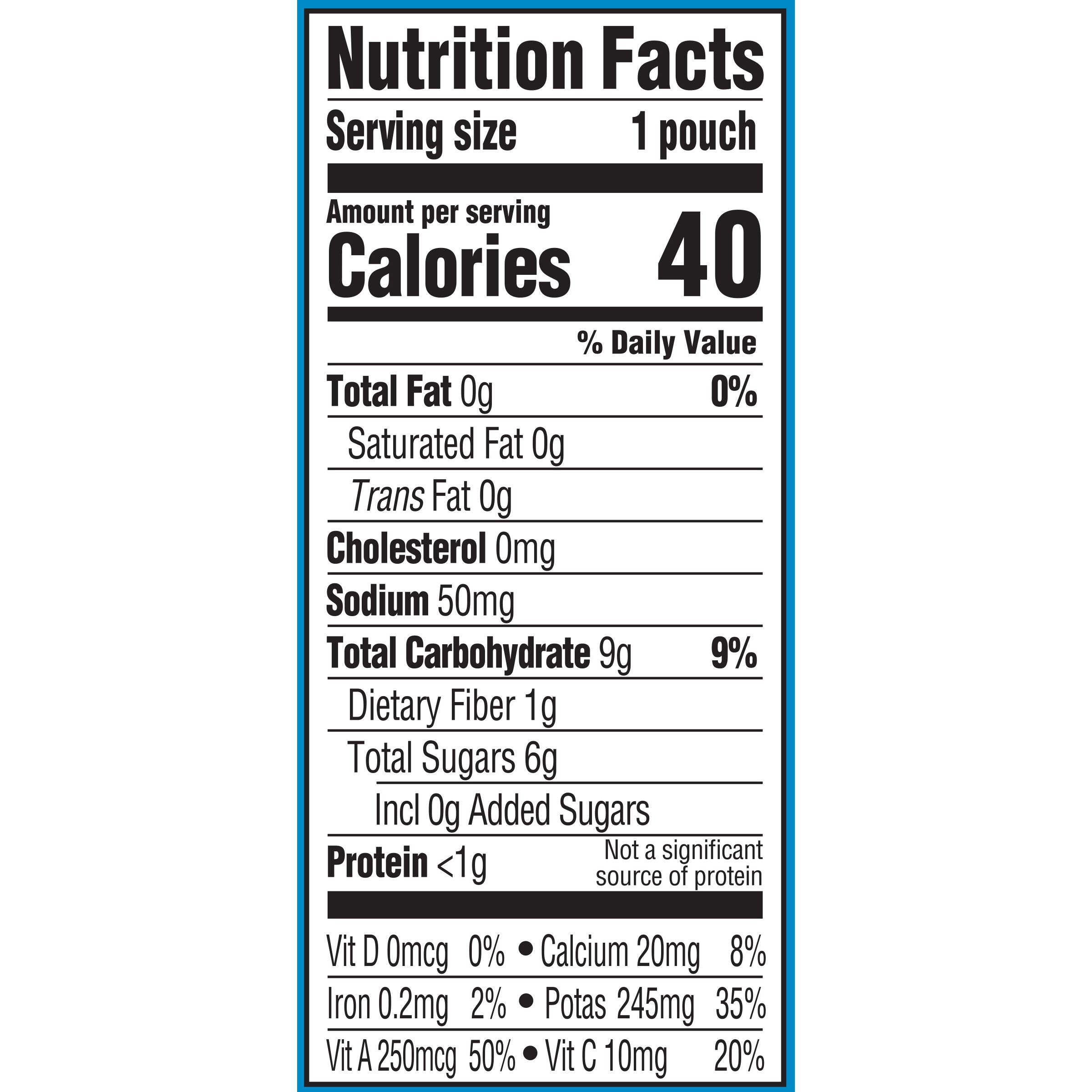 Gerber Natural Carrot Tomato Basil baby food Pouch Nutrition Info