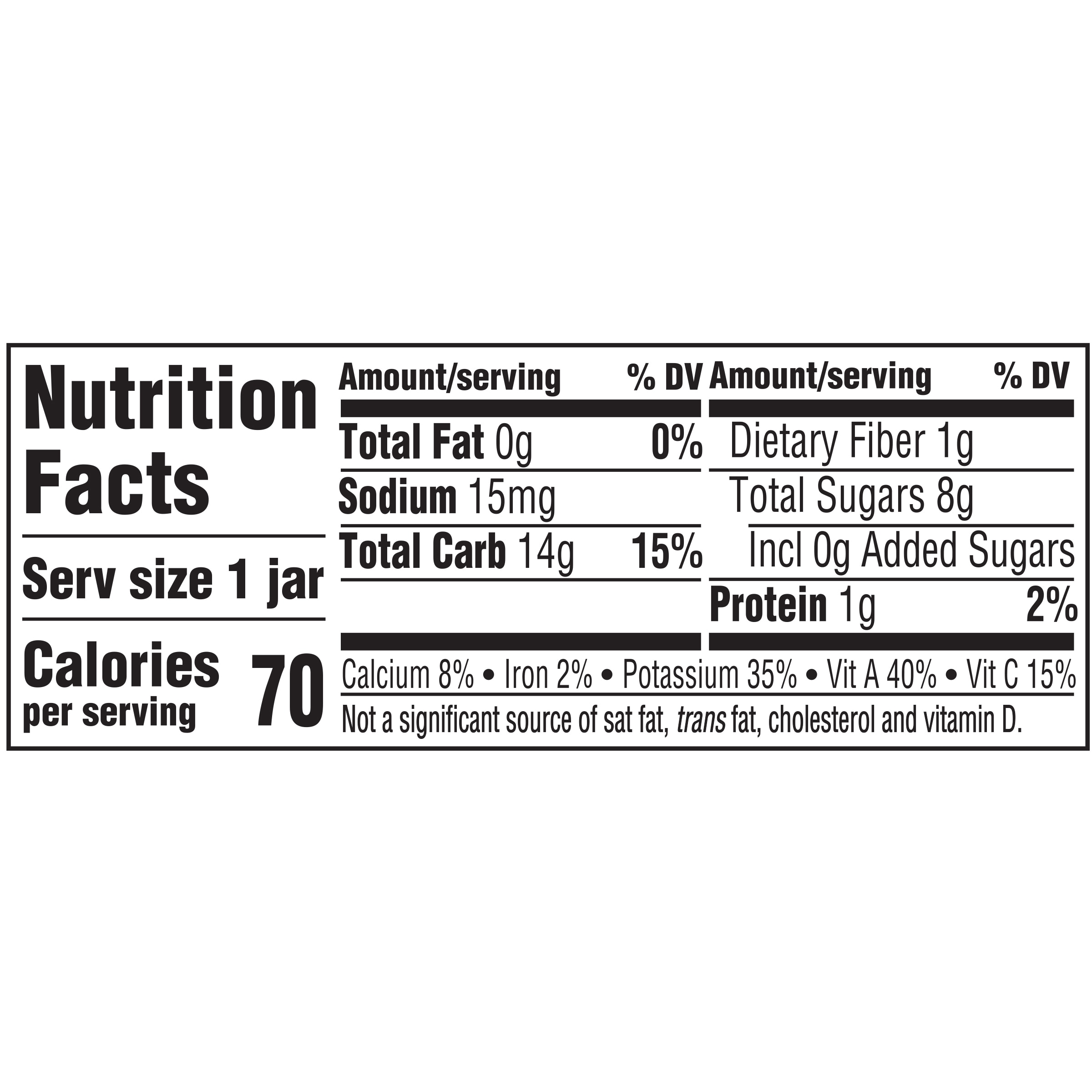 1st Foods Natural Sweet Potato Nutrition Facts
