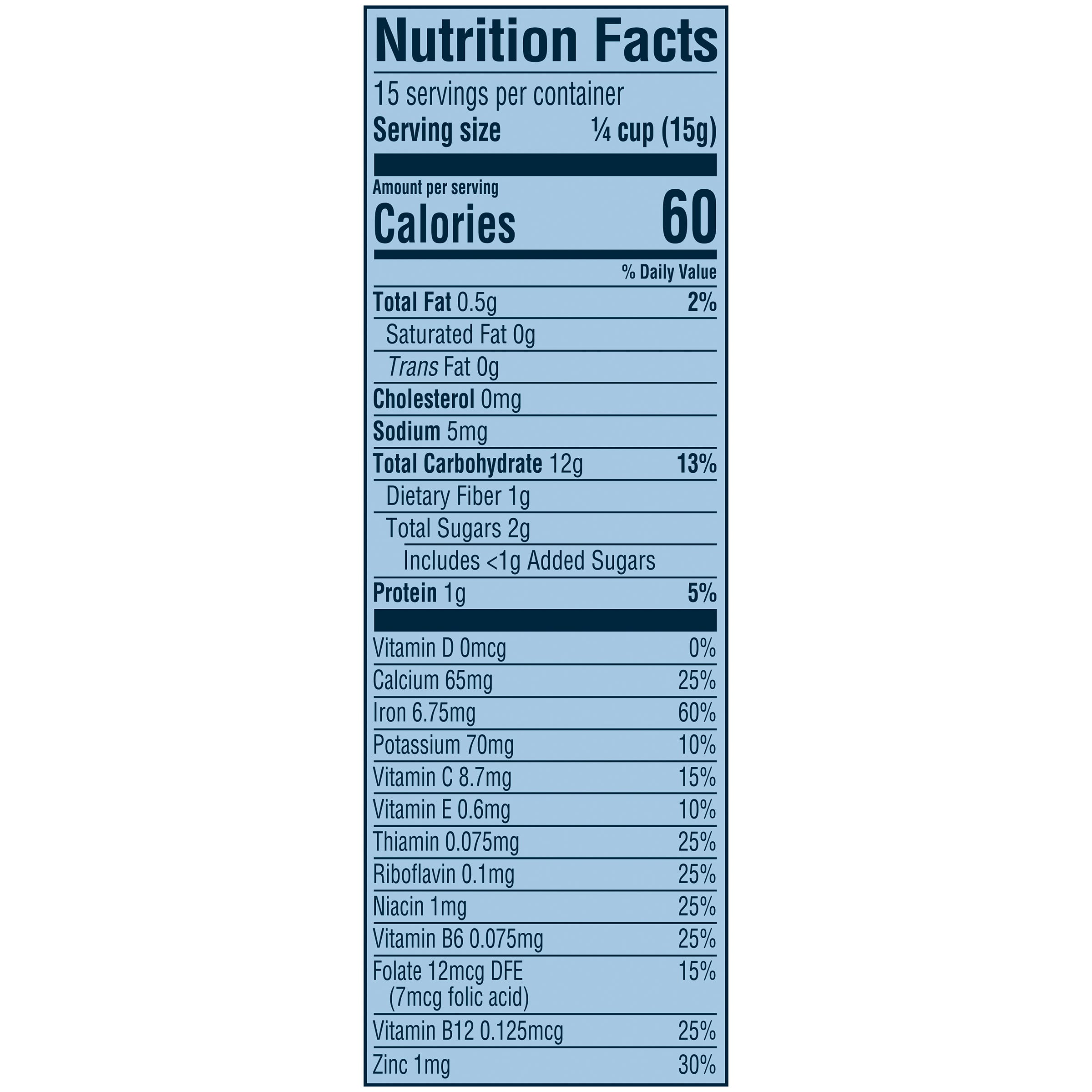 Whole Wheat Cereal Nutrition Information