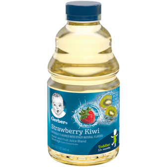 Bottle of Gerber Strawberry Kiwi Flavor Water and Fruit Juice Blend