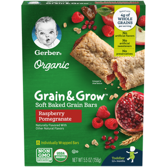 Box of Gerber Raspberry Pomegranate Soft Baked Grain Bars