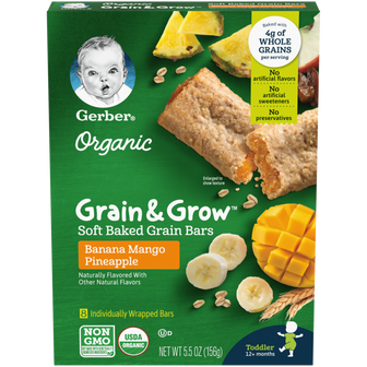Box of Gerber Banana Mango Pineapple Soft Baked Grain Bars