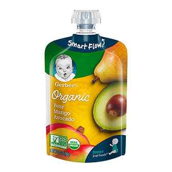 Pouch of Gerber Organic 2nd Foods Pear Mango Avocado Baby Food