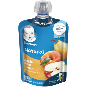 Pouch of Gerber's Apple Pear Peach baby food