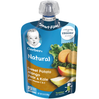 Pouch of Gerber Sweet Potato Mango Pear Kale Baby Food