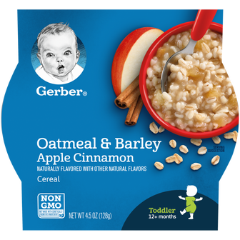 Bowl of Gerber Apple Cinnamon Oatmeal and Barley Cereal