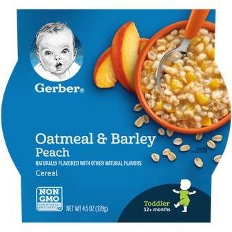 Bowl of Gerber Oatmeal and Barley Peach Cereal