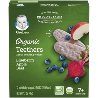 Box of Gentle Teething Wafers in blueberry apple beet