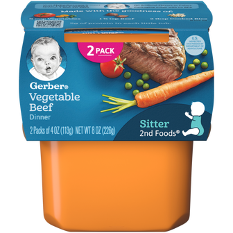 Tub of Gerber 2nd Foods Vegetable Beef Dinner