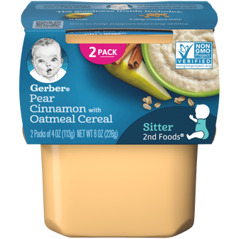 Tub of Gerber Pear Cinnamon with Oatmeal Baby Food