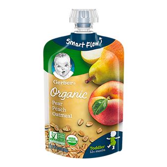 Pouch of Gerber Organic Pear Peach Oatmeal Baby Food