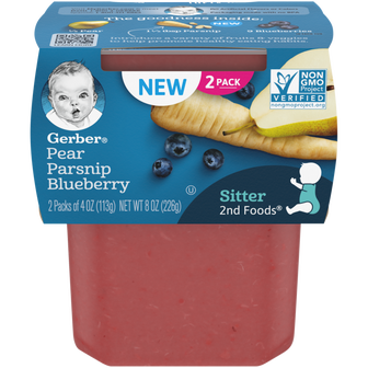 Tub of Gerber Pear Parsnip Blueberry Baby Food