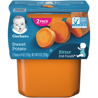 Tub of Gerber 2nd Foods Sweet Potato Baby Food