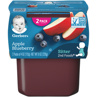 Tub of Gerber apple blueberry puree