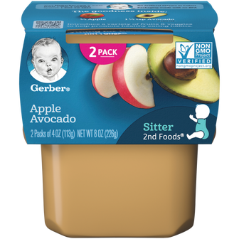 Tub of Gerber Apple Avocado Baby Food