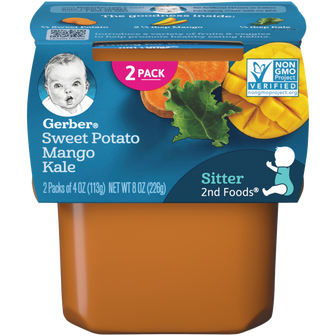 Tub of Gerber 2nd Foods Sweet Potato Mango Kale Baby Food