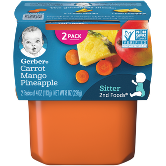Tub of Gerber 2nd Foods Carrot Mango Pineapple