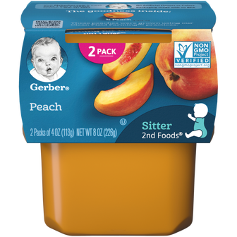 Tub of Gerber 2nd Foods Peach Baby Food