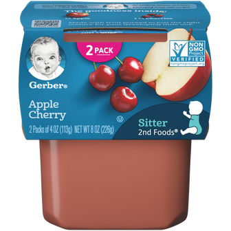 Tub of Gerber 2nd Foods Apple Cherry Baby Food