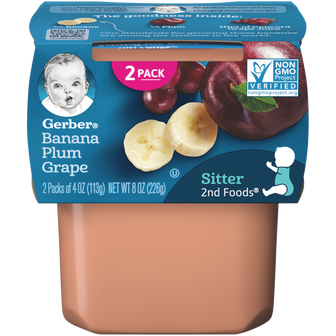 Tub of Banana Plum Grape Baby Food