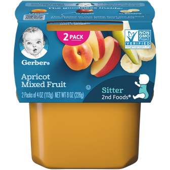 Tub of Gerber 2nd Foods Apricot Mixed Fruit Baby Food