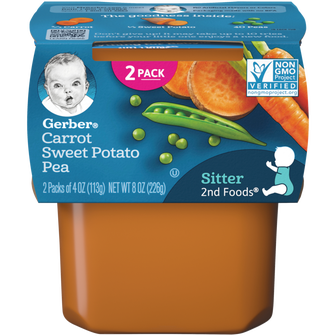 Tub of Gerber 2nd Foods Carrot Sweet Potato Pea Baby Food