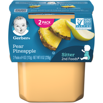 Tub of Gerber 2nd Foods Pear Pineapple Baby Food