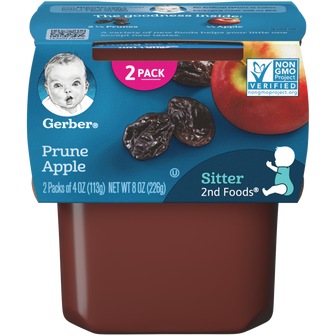 Tub of Gerber 2nd Foods Prune Apple Baby Food