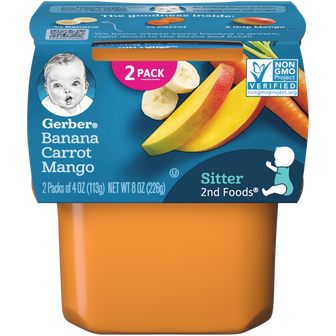 Tub of Gerber 2nd Foods Banana Carrot Mango Baby Food