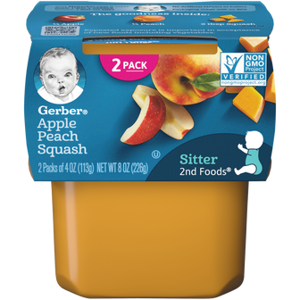 Tub of Gerber's 2nd Foods Apple Peach Squash baby food