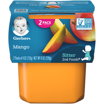 Tub of Gerber 2nd Foods Mango Baby Food