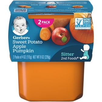 Tub of Gerber 2nd Foods Sweet Potato Apple Pumpkin Baby Food