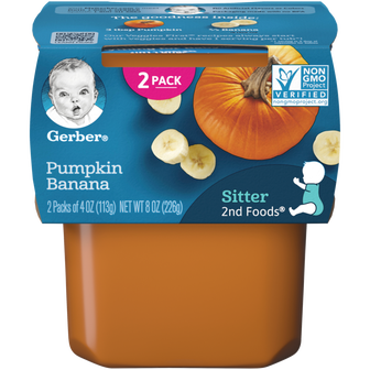 Tub of Gerber 2nd Foods Pumpkin Banana Baby Food