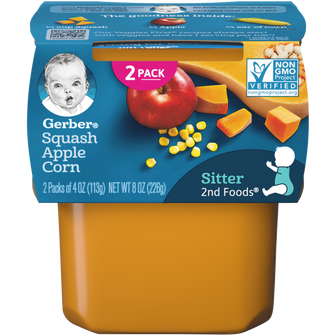 Tub of Gerber 2nd Foods Squash Apple Corn Baby Food