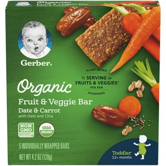 Box of Gerber Organic Date and Carrot Fruit and Veggie Bars