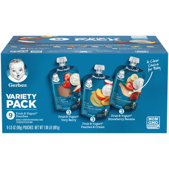 Very Berry, Peaches & Cream & Strawberry Banana Fruit & Yogurt Toddler Food Variety Pack