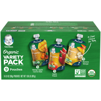 Organic Mango Apple Carrot Kale, Apple Peach & Banana Mango Baby Food Variety Pack