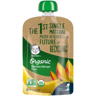 Pouch of Gerber Organic Banana Mango Incredipouch