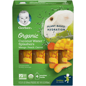 Pouches of Gerber Mango Peach Carrot Coconut Water Splashers