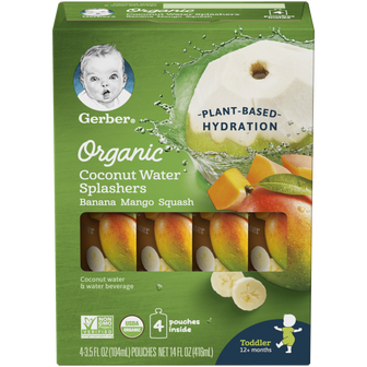 Pouches of Gerber Banana Mango Squash Organic Coconut Water Splasher