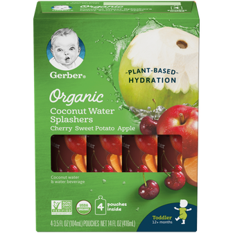 Pouches of Organic Cherry Sweet Potato Apple Coconut Water Splashers