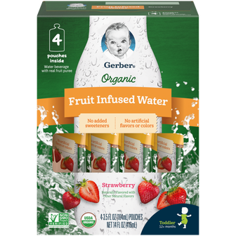 Box of 16 pouches of Gerber Organic Strawberry Fruit Infused Water