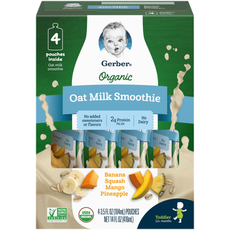 Pouches of Gerber's Organic Banana Squash Mango Pineapple Oat Milk Smoothie