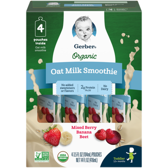 Pouches of Gerber Mixed Berry Banana Beet Organic Oat Milk Smoothie