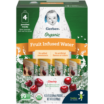 Pouches of Gerber Cherry Fruit Infused Water